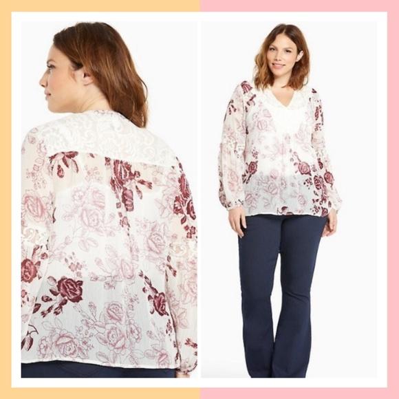 01a691040e2 torrid Tops | Nwt Boho Floral Print Chiffon Top 3x | Poshmark